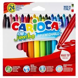 ΜΑΡΚΑΔΟΡΟΙ CARIOCA JUMBO 6mm ΣΕΤ=24 ΧΡΩΜΑΤΑ  Carioca 40570