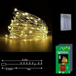 50 microLED ΜΠΑΤΑΡΙΑΣ COPPER ΛΕΥΚΑ ΣΤΑΘΕΡΑ  Xmasfest 1131426